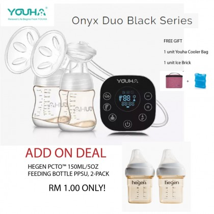 YOUHA ONYX DUO BLACK SERIES BREASTPUMP - ADD ON DEAL HEGEN TWIN PACK 5OZ BOTTLE AT RM1 ONLY