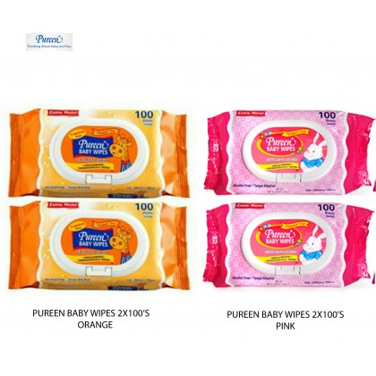 PUREEN BABY WIPES 2X100S VALUE PACK