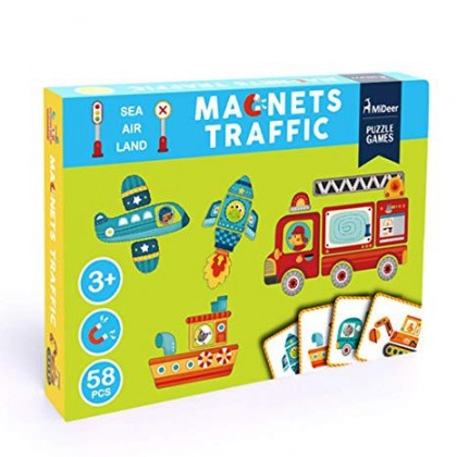 MIDEER Magnetic Board Puzzle - Traffic (Educational Toys for Kids)